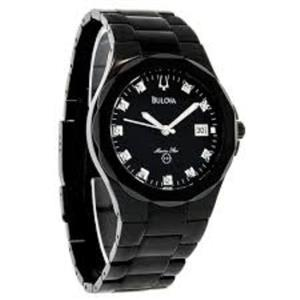 Bulova 98D008. Men's 10 Diamond Dial Marine Star Stainless Steel Black Bracelet. Black Dial, Silver