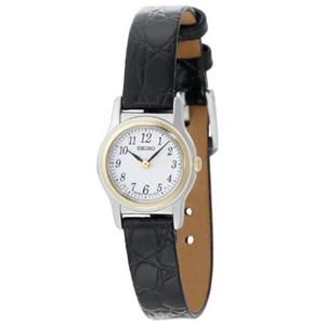 Seiko Women's SXGM10. Black Leather Strap. White Dial Watch.