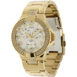 Guess Women's G13537L.Gold Tone Band/Bracelet.Bling Bezel.Military Time Sub Dial