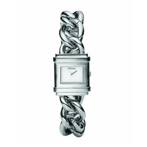 Fossil Women's ES2652. Silver Tone Stainless-Steel Bracelet. Quartz. White Dial Watch.