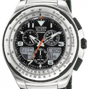 Citizen Men's JR3125 -55e. Skyhawk Eco-Drive. Flight Black Rubber & Stainless Bracelet Watch.