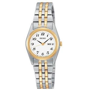 Seiko Women's SXA124. Two-Tone Stainless Steel Bracelet. Ez Read White Dial. Lds Day Date Watch