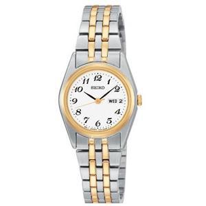 Seiko Women's SXA124. Two-Tone Stainless Steel Bracelet. Ez Read White Dial. Lds Day Date Watch