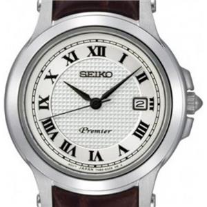 Seiko SXDE01P2. Ladies Premier Collection. Round White Dial. Roman Numerals. Stainless Case. Brown L