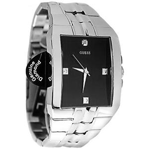 Guess U10014G1. Dress. Hybrid. Genuine Diamond Accents.Black/Silver-tone Stainless Rectangular Dial.