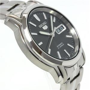 Seiko Men's SNKK71. Seiko 5 Mechanical Automatic Watch w/ See Thru Back. Black Dial Silver Stainless