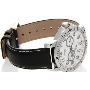 Citizen Men's AG8310-08A. Quartz Black Leather Strap Band. White Dial Watch.