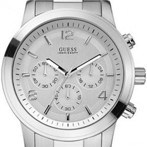 Guess Men's U13577G1. Chronograph. Silver Dial. Stainless Steel Bracelet. Water Resistant 100 Meters