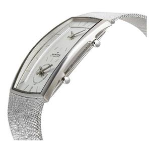 Skagen 281lss. Men's Dual Time Two Face Watch. Steel Case and Mesh Clip Bracelet With Glass Crystal.