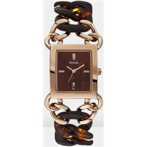 Guess U0467L1. Contemporary.Brown Retangle Dial.Rose Gold-Tone & Brown Tortoise Bracelet.10M Resist