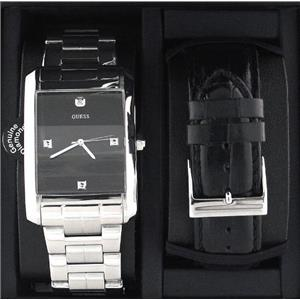 Guess Men's U11036G1.Rectangular Dress Watch EZ Change Leather Band and Steel Bracelet.Blk 4 Diamond