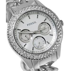 Fossil ES3498.Dress.Stella Series.3 Subdials.Round Silver Dial.Crystal Bezel.Stainless Twist Bracele