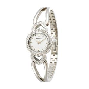 Bulova Women's 96X006. Crystal Pendant and Bracelet Boxed Set White Dial Watch.