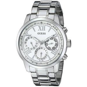 Guess Womens's U0330L3. Multi-Function.Feminine Silver-Tone Sporty Watch.Silver Dial.Silver Bracelet