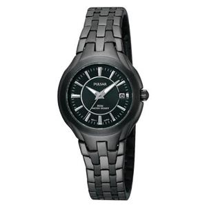 Pulsar Womens PXT927. Dress Sport Stainless Black Ion Bracelet w/Blk Dial.