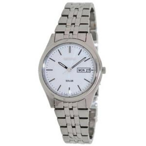 Seiko SNE031. Dress. Solar. Round White Dial.Luminous Hands/Markers. Silver-Tone Stainless Case/Brac