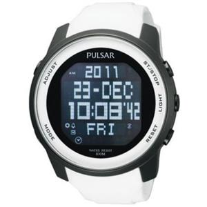 Pulsar PQ2015. Easy Read Very Large Digital. All Black Steel Case. White Rubber Strap.