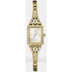 Guess U0430L2. Glitz.White Rectangular Dial. Crystal Accents.Roman Numerials.Stainless Gold-Tone Ban