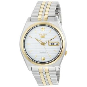 Seiko Men's SNX166. Seiko 5 Automatic. Silver Dial. Two-Tone Stainless-Steel Bracelet Watch.