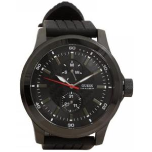 Guess Men's U10660G1.Black Textured Dial. Day/Date Subdials.Silicone Strap.Water Resistant 100 Meter