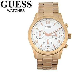 Guess Ladies U13578L5. White Chronograph Dial w/ Rose Gold-Tone Numerals. Three Sundials.Rose Gold-T