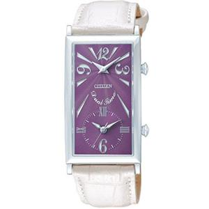 Citizen Women's EX0270 -05X. Lady Kareena. White Leather Strap. Dual Time Quartz Watch.