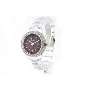 Fossil ES2611. Ladies Stella Clear Mini Purple Analog Quartz Watch. Clear Plastic Bracelet, Dark Pur