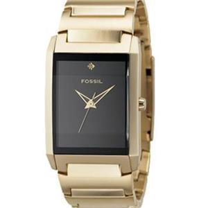 Fossil's Men's FS4377. Black Dial Stainless Steel. Gold Tone Bracelet Watch.