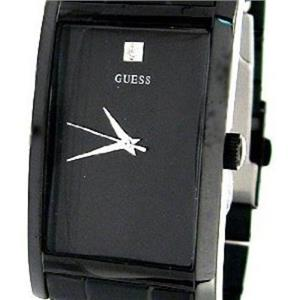 Guess Men's 10610G. Rectangular Dress Watch. Black ION Steel Bracelet/Case w/Diamond Dial