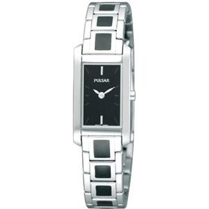 Pulsar Women's PEGF69. Dress Watch. Rectangular Stainless Case/Bracelet w/Blk Enamel.