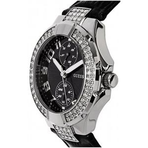 Guess Women's U10580L2. Faux Diamond Bezel/Case.Black Crocodile Grain Strap.Day/Date Sub Dials