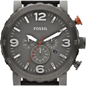 "Fossil JR1419. Rugged ""Nate"". Military Gunmetal Grey Dial-Case.Grey Leather Band.Chronograph Movemen"