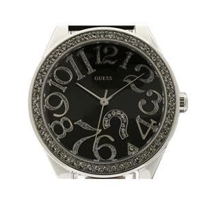 Guess Women's G76030L. Analog, Quartz Movement. Round Black Dial. Arabic Numerals. Swarovski Crystal