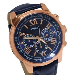 Guess U0380G5. Chronograph. Rose Gold-Tone Bezel/Case.Round Blue Dial.Croc Leather Strap.100M Resist