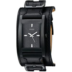 Guess Men's U95139G1. Monochromatic Black. Black Leather Bold Buckled Cuff. Black Dial. Water Resist
