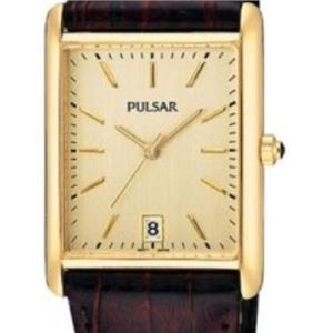 Pulsar PXDA84. Small Rectangular Gold Tone w/Date. Mans Burgundy Strap.