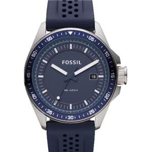 Fossil Mens AM4388. Decker. Analog Stainless Watch. Blue Rubber Strap. Blue Dial .
