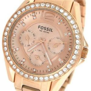 "Fossil ES2811.Glitzy Ladies ""Riley"". Rose Gold-Tone Stainless Steel Dial/Case/Bracelet.Crystal Bezel"