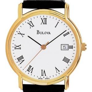Bulova 97B13. White Dial. Black Tortoise Shell Pattern Leather Strap. 30m Resist