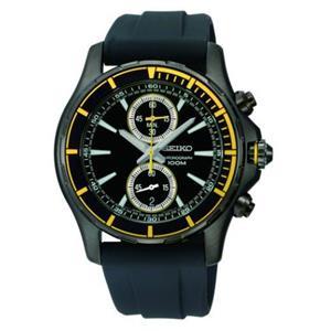 Seiko Men's SNN249P1. Chronograph Black Ionized Case. Rubber Strap. Black Dial Watch.