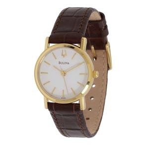 Bulova Women's 97L102 Watch. Brown Strap, Gold Tone Case, White Dial