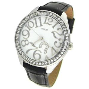 Guess Women's U95096L.Black Crocodile Grain Strap. Bling Bezel. Guess Logo Dial