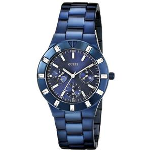 Guess U0027L3.Bling Crystal Accents.Iconic Blue Plated Stainless Dial/Band.Multi-Function.24 Hour Di