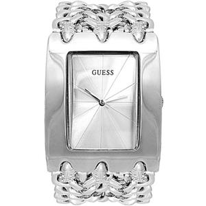 Guess Women's G85719L. Three Chain Steel Bracelet. Rectangular Case w/ Sun Ray Silver Dial
