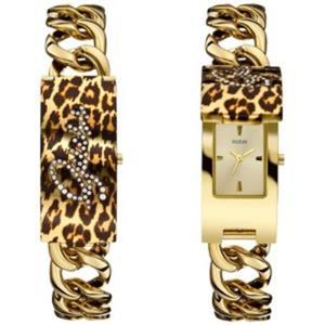 GUESS Women's U0321L5.Bling Animal Print Gold-Tone ID Bracelet/Watch. Retangle Gold Dial.Self-Adjsut