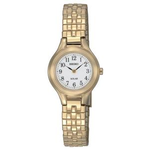 Seiko Women's SUP102. Solar Powered. Gold-tone Stainless Steel Bracelet. White Dial Watch.