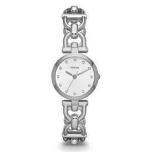 Fossil ES3348 Classic Womens Fashion Watch. Olive Collection. 12 Clear Stone Markers. Silver Tone