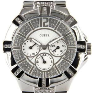 Guess Women's U12601L1.Bling Dial/Bezel.Day/Date/Military Time Dial. Silver Tone Steel Case/Bracelet