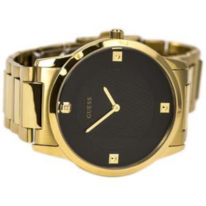 Guess U0428G1Sl. Dressy.Diamond Markers.Black Round Dial.Gold-Tone Case/Bracelet.50M Resist.