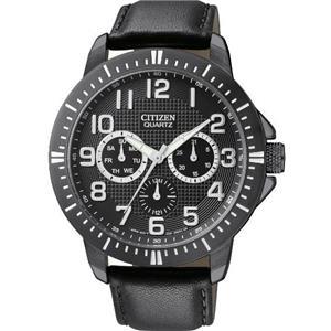 Citizen Men's AG8315-04E. Black Leather Strap. Black Steel Case